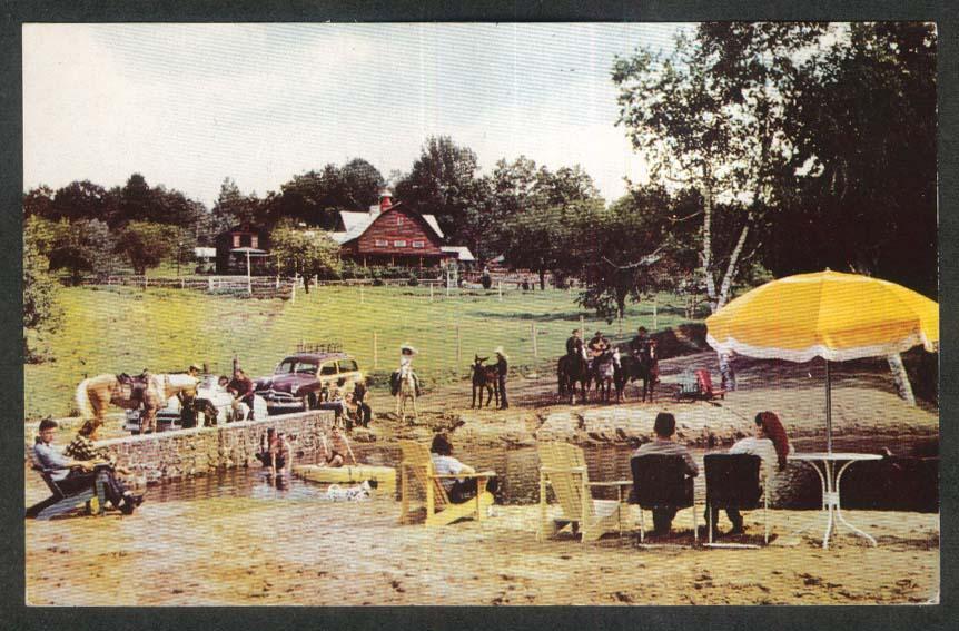 Roaring Brook Dude Ranch Lake George NY postcard 1956