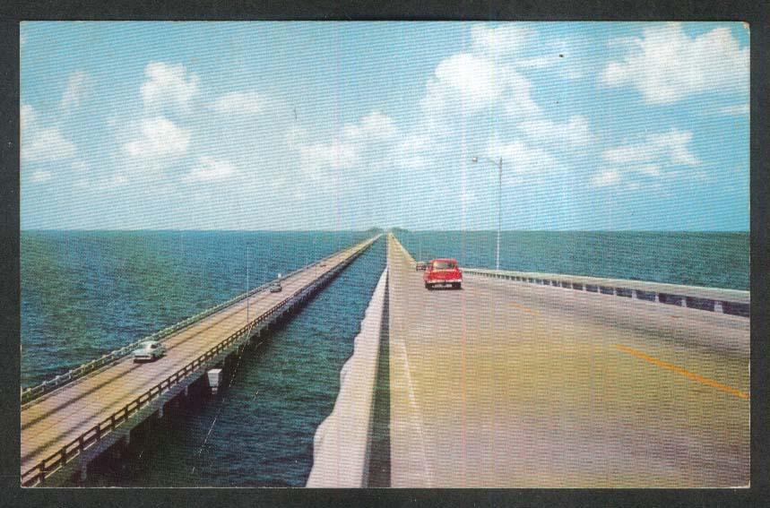 The Gandy Double-Span Bridges Tampa-St Petersburg FL postcard 1957