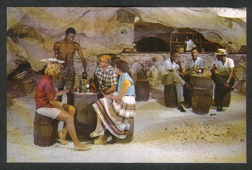 Unique Bar at Runaway Caves Discovery Bay Jamaica West Indies postcard 1966