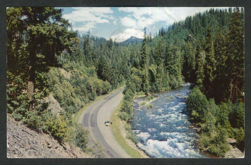River & Highway in Cascade Mountains Pacific Northwest CA postcard 1961