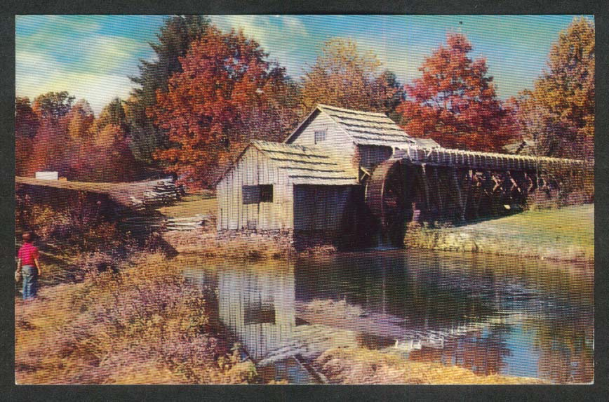 Gristmill Sawmill Blacksmith Mabry Mill on Blue Ridge Parkway VA postcard 1966
