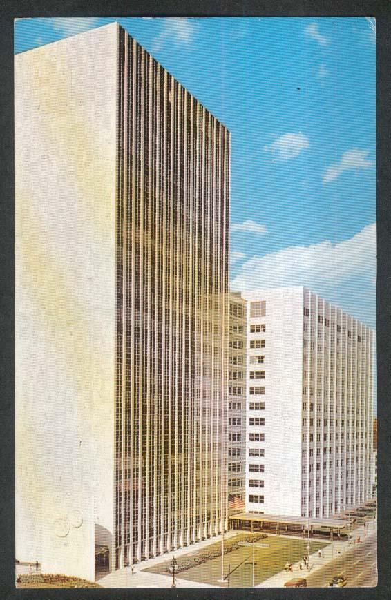 Detroit's New City-County Building Detroit River MI postcard 1959