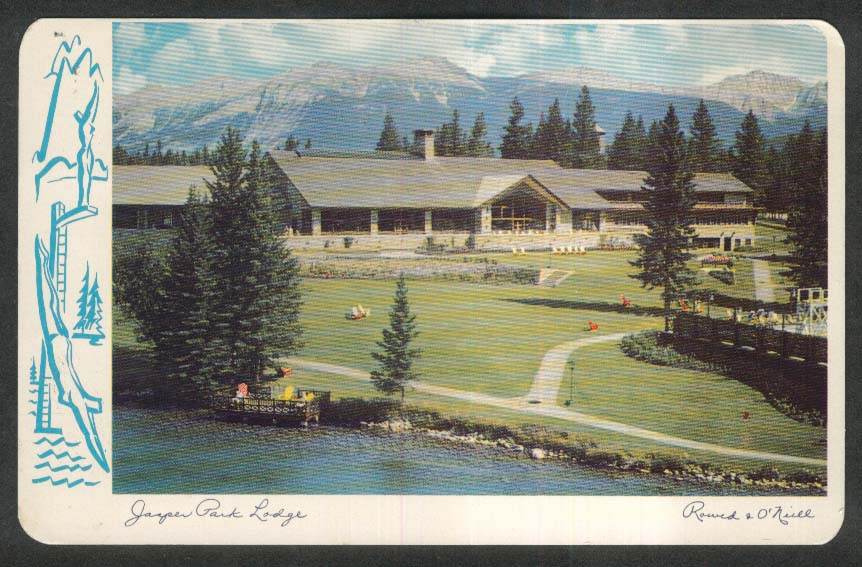 Jasper Park Lodge Lac Beauvert Canadian Rockies Alberta Canada postcard 1958