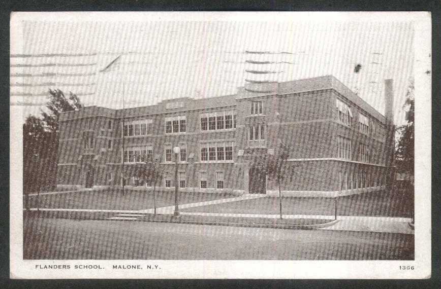 Flanders School Malone NY postcard 1932