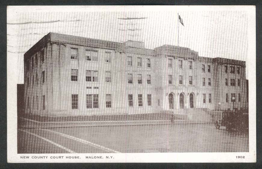 New County Court House Malone NY postcard 1932