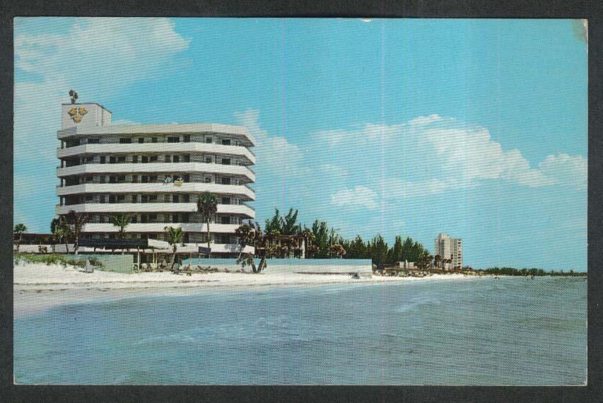 Lido Beach Three Crowns Hotel Landmark Hotel Sarasota FL postcard 1966