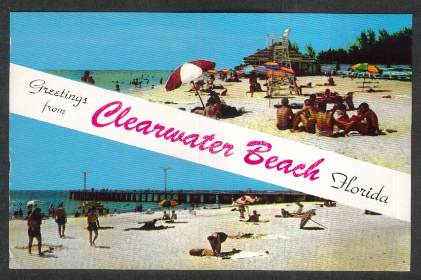 Greetings from Clearwater Beach FL postcard 1960