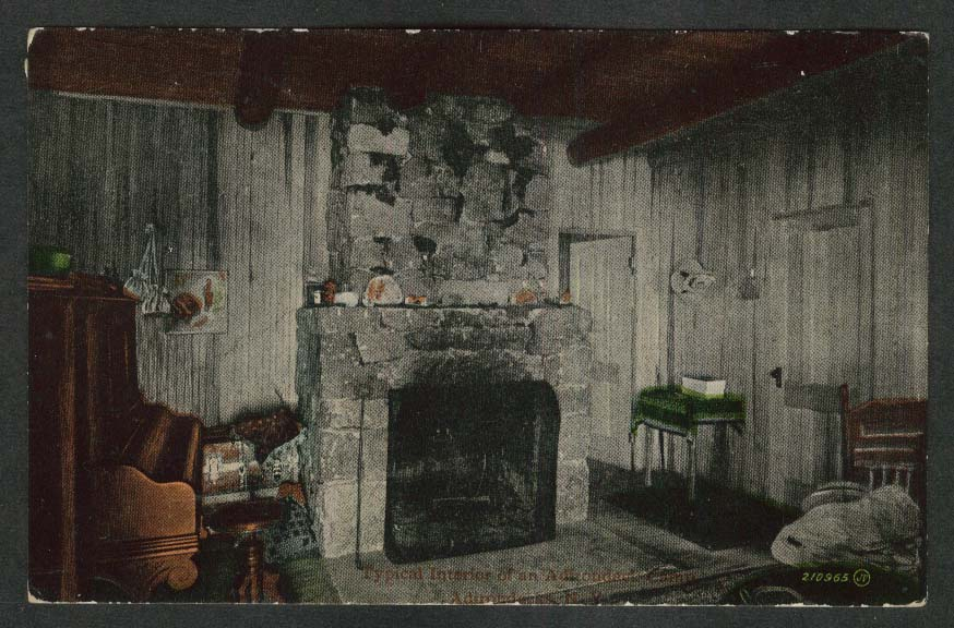 Typical Interior of an Adirondack Camp Adirondacks NY postcard 1913