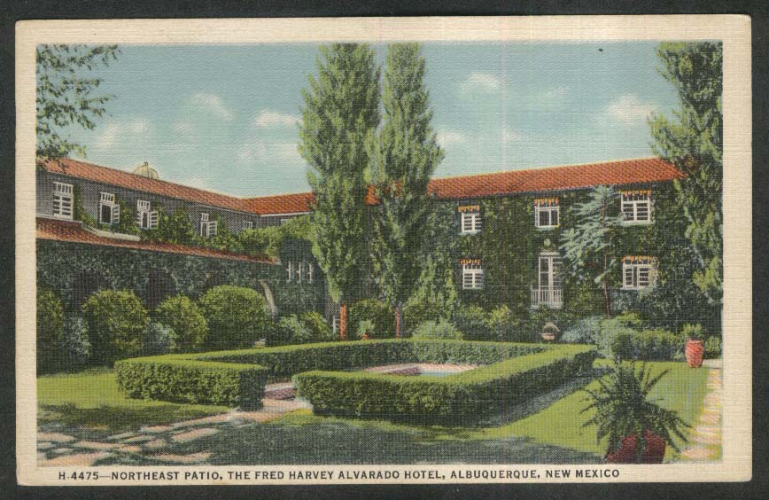 Northeast Patio Fred Harvey Alvarado Hotel Albuquerque NM postcard 1944