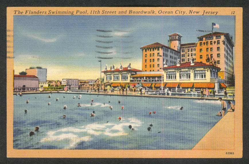 The Flanders Swimming Pool 11st & Boardwalk Ocean City NJ postcard 1953