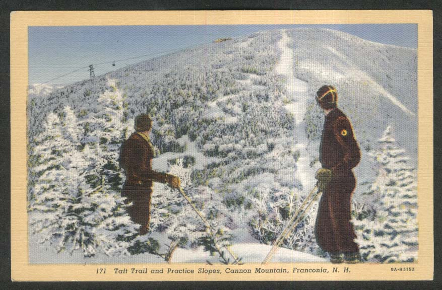 Taft Trail & Practice Slopes Cannon Mountain Franconia NH postcard 1940
