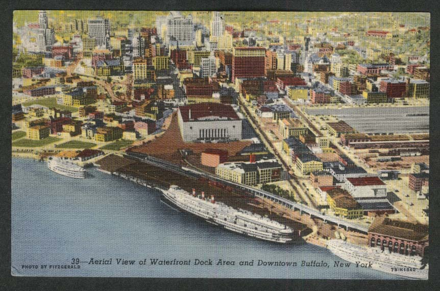 Aerial View of Waterfront Dock Area & Downtown Buffalo NY postcard 1953