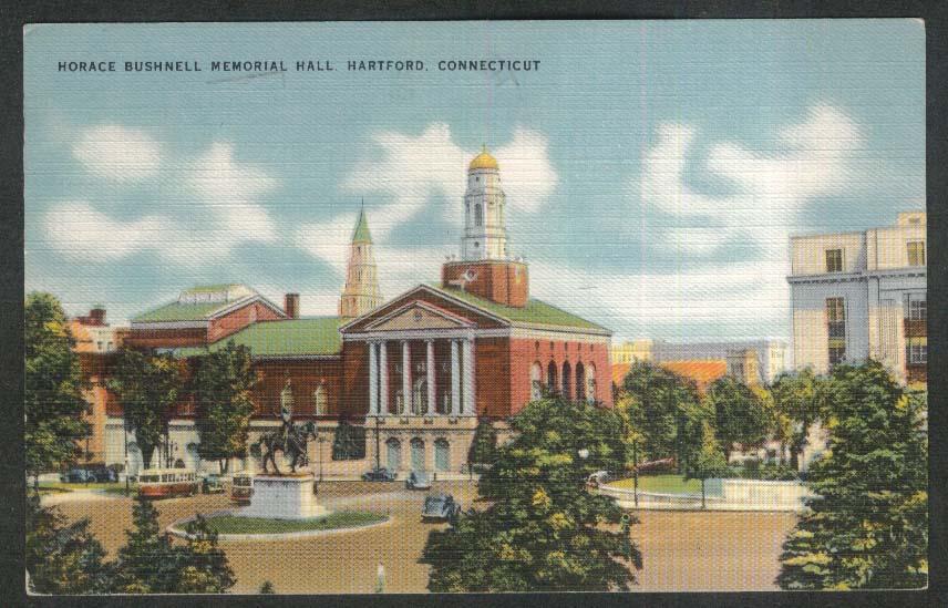 Horace Bushnell Memorial Hall Hartford CT postcard 1954