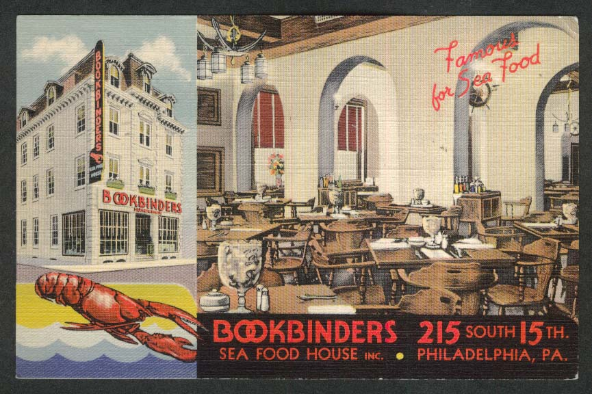 Bookbinders Sea Food House 215 South 15th Philadelphia PA postcard 1949