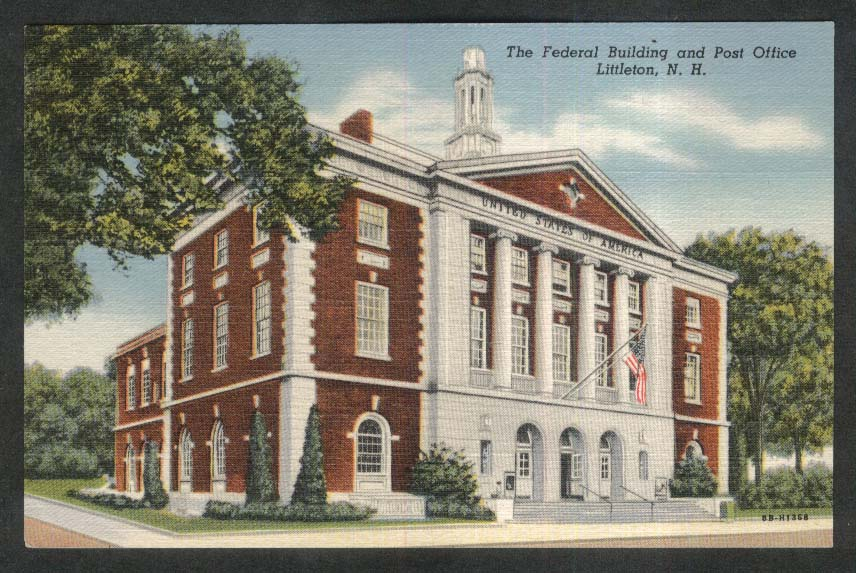 The Federal Building & Post Office Littleton NH postcard 1949