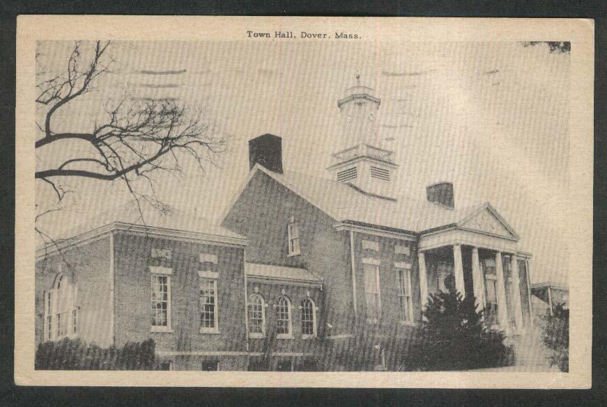 Town Hall Dover MA postcard 1954