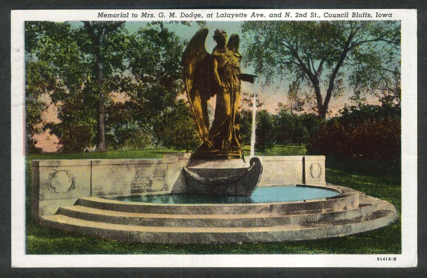 G M Dodge Memorial Lafayette Ave N 2nd St Council Bluffs IA postcard 1948
