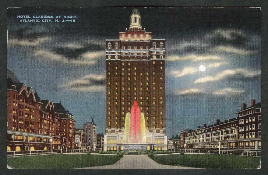Hotel Claridge at Night Atlantic City NJ postcard 1940