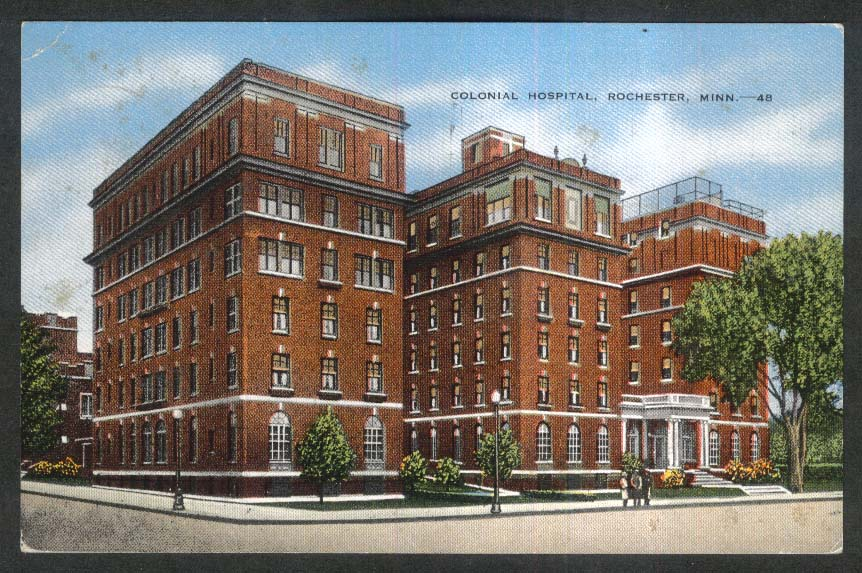 Colonial Hospital Rochester MN postcard 1946