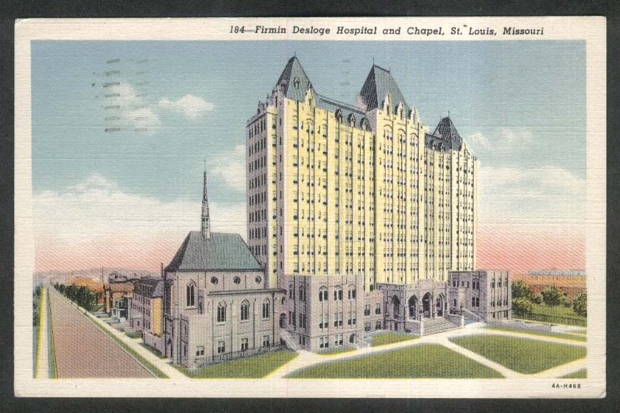 Firmin Desloge Hospital & Chapel St Louis MO postcard 1951