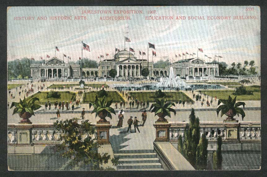 Jamestown Exposition 1907 History Auditorium Education & Social Economy postcard