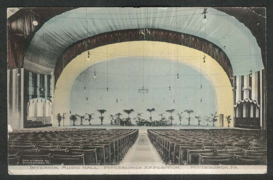 Interior Music Hall Pittsburgh Exposition PA postcard 1908
