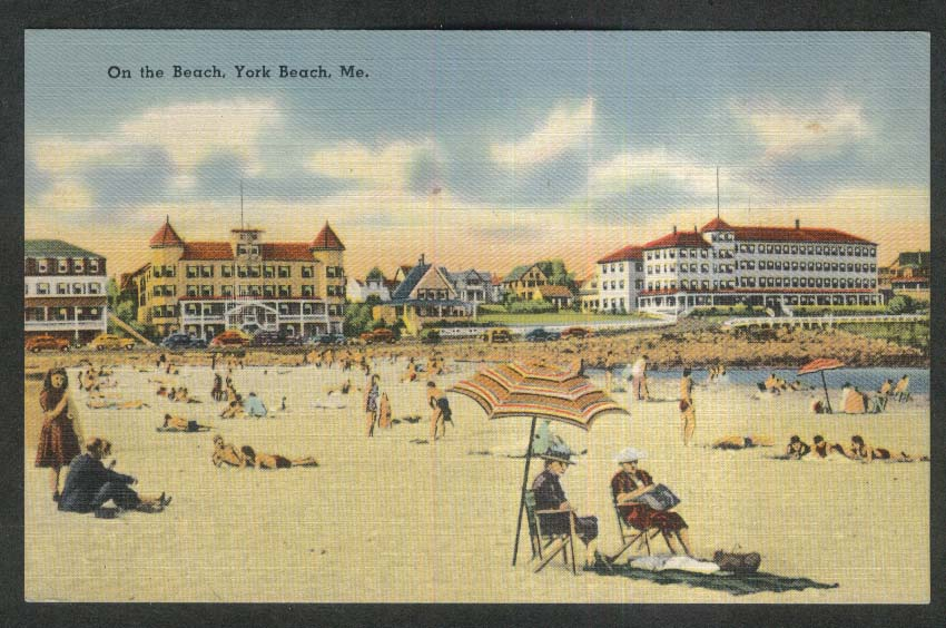 On the Beach York Beach ME postcard 1945