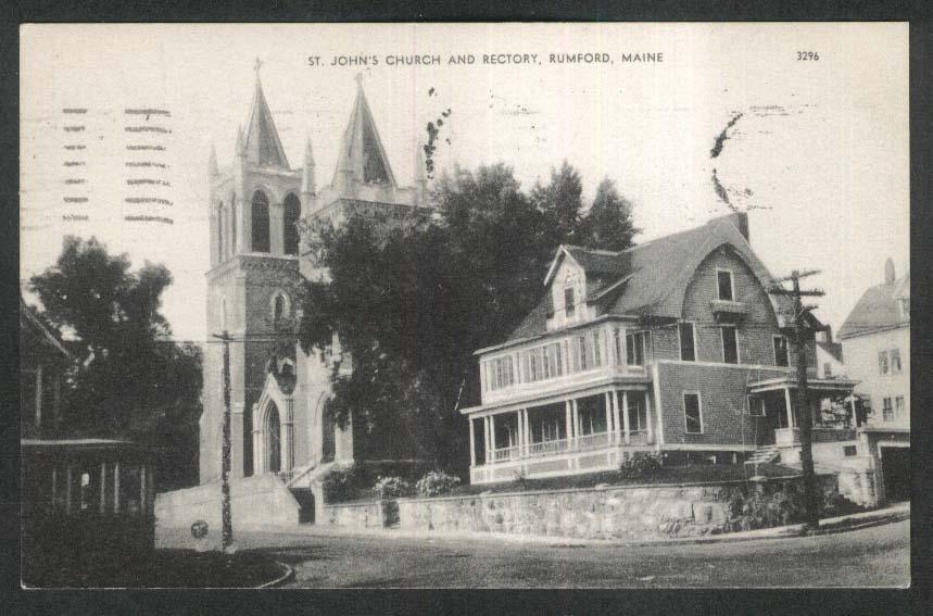 St John's Church & Rectory Rumford ME postcard 1965