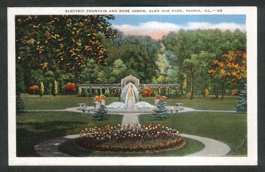 Electric Fountain & Rose Arbor Glen Oak Park Peoria IL postcard 1948