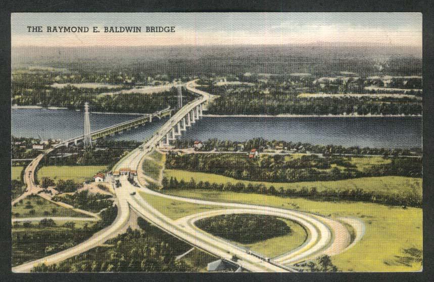 The Raymond E Baldwin Bridge Old Saybrook Lyme CT postcard 1949