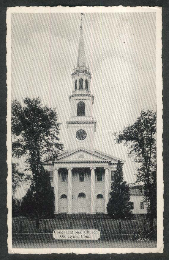 Congregational Church Old Lyme CT postcard 1940