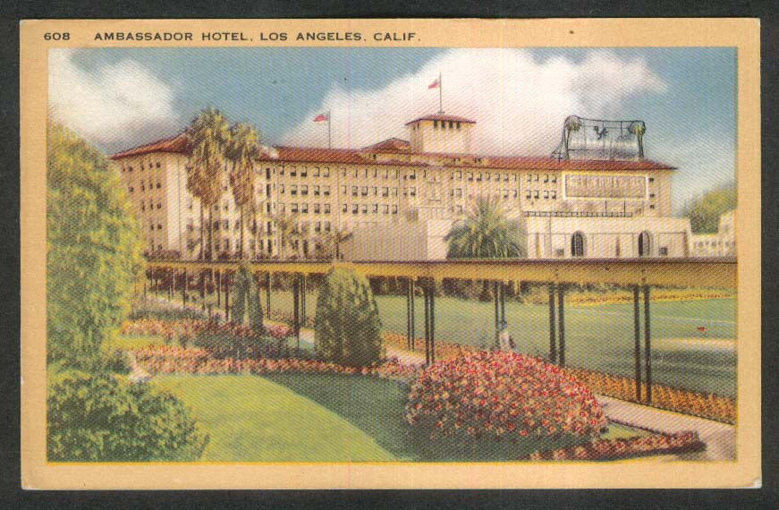 Ambassador Hotel Los Angeles CA postcard 1944