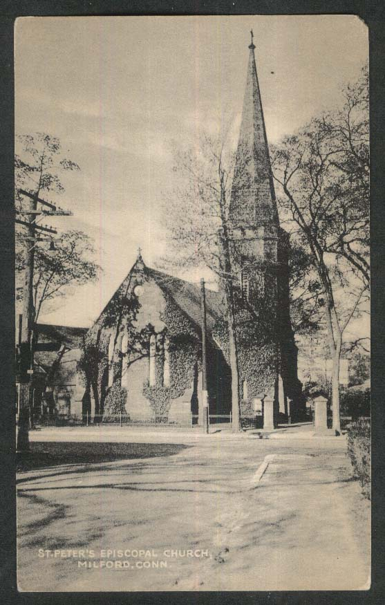 St Peter's Episcopal Church Milford CT postcard 1948