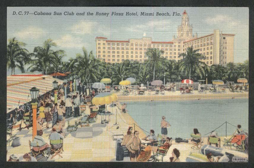 Cabana Sun Club & Roney Plaza Hotel Miami Beach FL postcard 1947