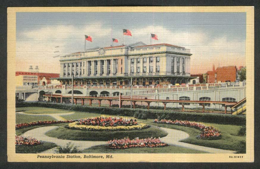 Pennsylvania Station Baltimore MD postcard 1942