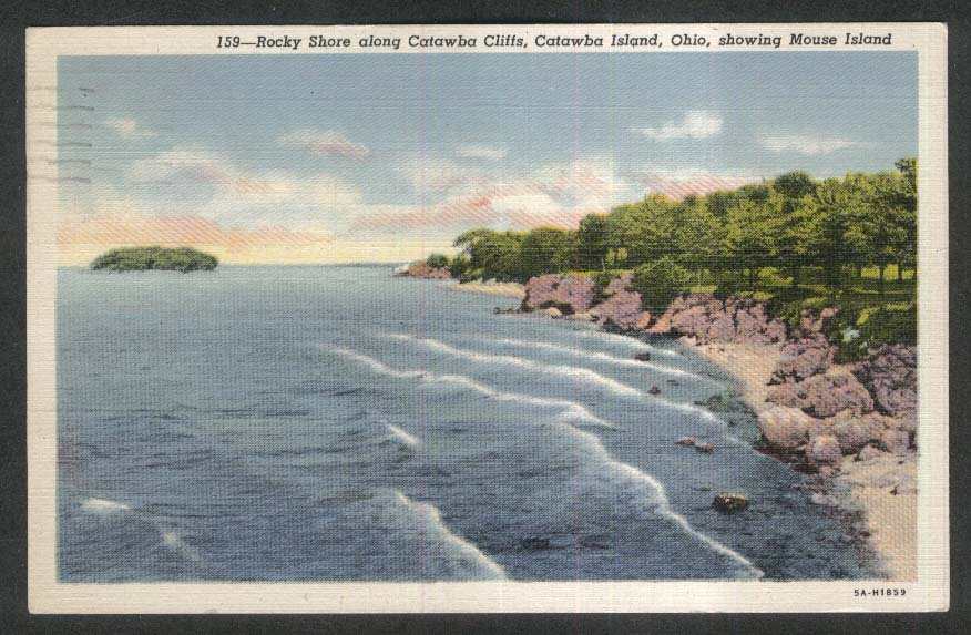 Rocky Shore along Catawba Cliffs Mouse Island Catawba Island OH postcard 1950