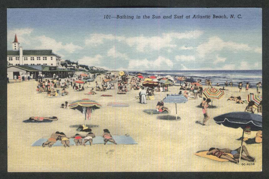 Bathing in the Sun & Surf at Atlantic Beach NC postcard 1954