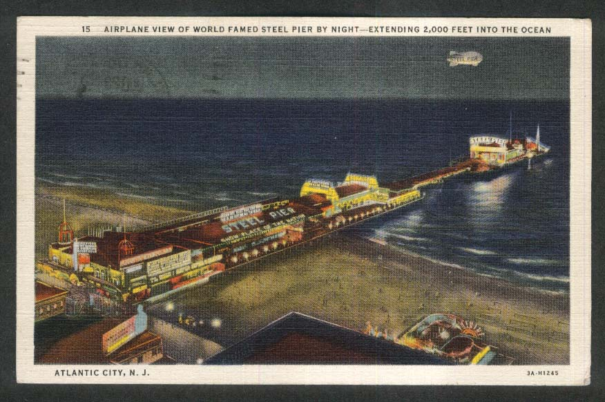 Airplane View of Steel Pier by Night Atlantic City NJ postcard 1940