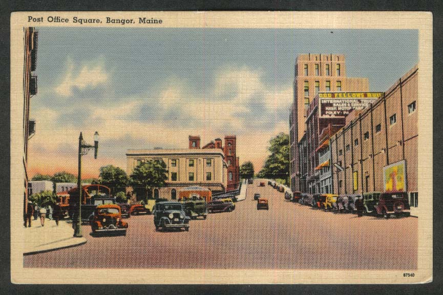 Odd Fellows Building Post Office Square Bangor ME postcard 1942