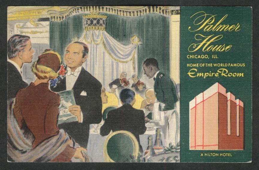 Empire Room Palmer House Hilton House Chicago IL postcard 1954