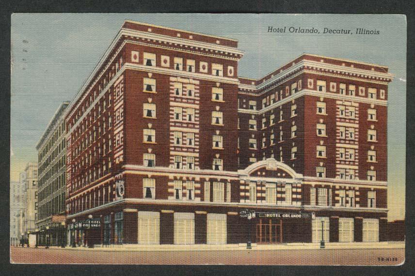 Hotel Orlando Decatur IL postcard 1950