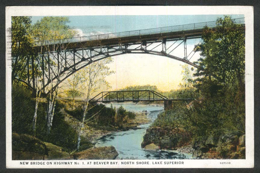 New Bridge on Highway 1 Beaver Bay MN North Shore Lake Superior postcard 1932