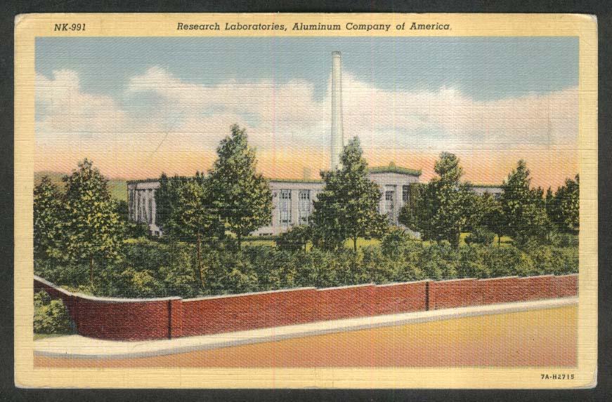 Research Laboratory Aluminum Company of America New Kensington PA postcard 1943