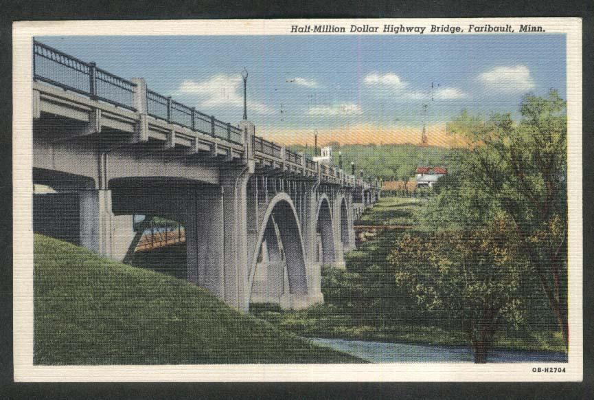 Half-Million Dollar Highway Bridge Faribault MN postcard 1951