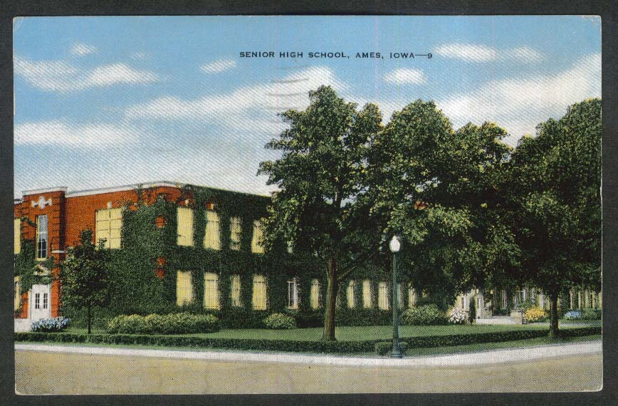Senior High School Ames IA postcard 1953