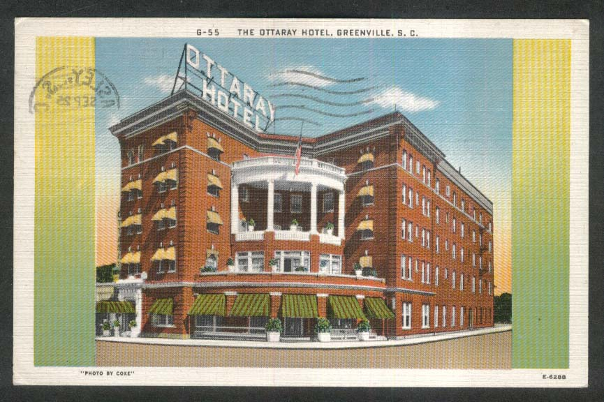 The Ottaray Hotel Greenville SC postcard 1950