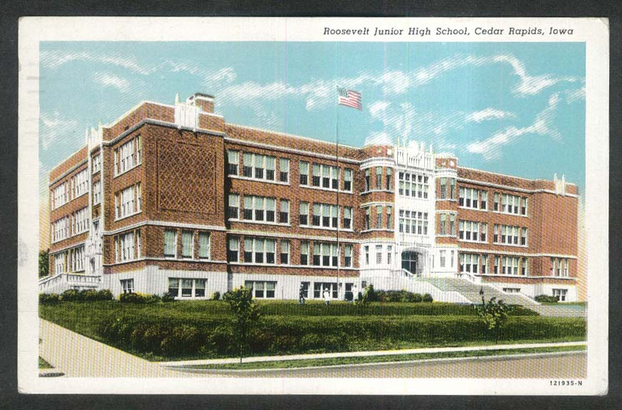 Roosevelt Junior High School Cedar Rapids IA postcard 1951