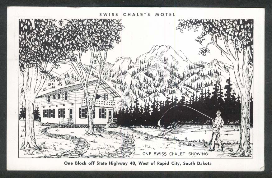 Swiss Chalets Motel Rapid City SD postcard 1955
