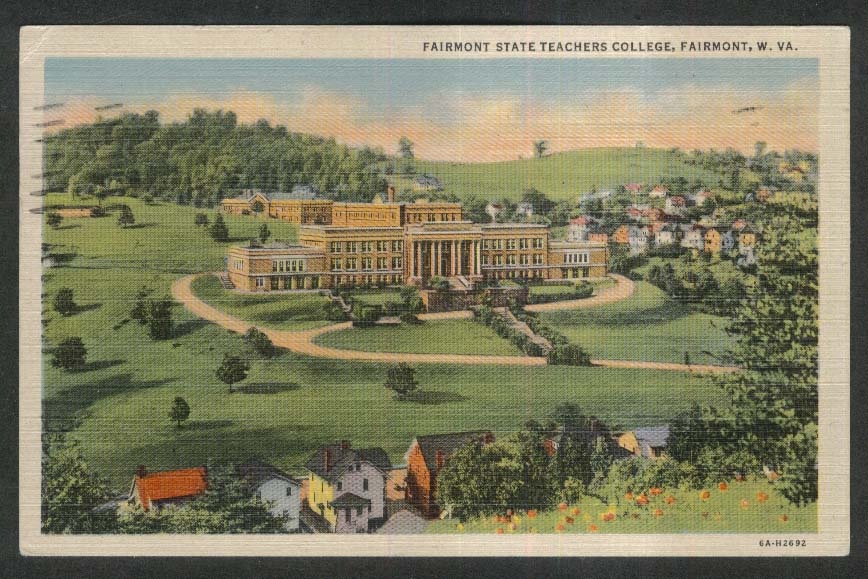 Fairmont State Teachers College Fairmont WV postcard 1956