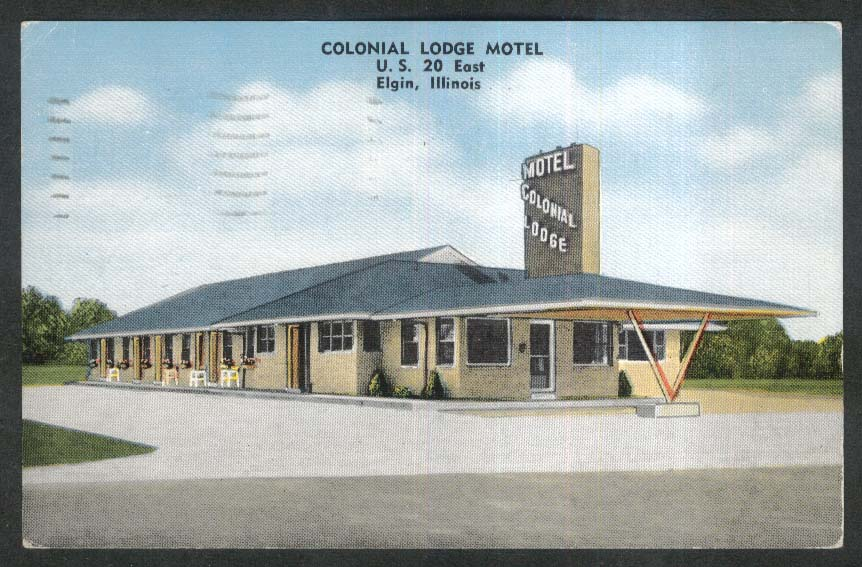 Colonial Lodge Motel Elgin IL postcard 1962